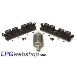 2 x LPG Injector Rail AEB INJ R4S I-PLUS VGI - 8 Cylinder set + Filter