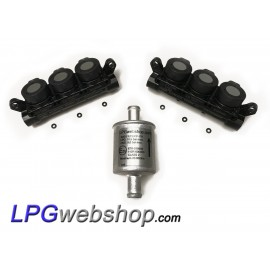 2 x LPG Injector Rail AEB INJ R3S I-PLUS VGI - 6 Cylinder set + Filter