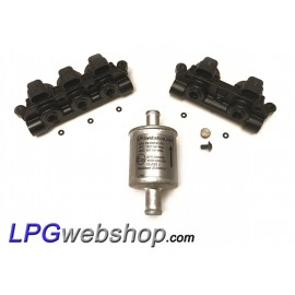 2 x LPG Injector Rail AEB INJ R2S + R3S I-PLUS VGI - 5 Cylinder set + Filter