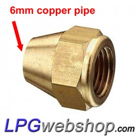 Small Swivel 6 mm for copper pipe flare connection on LPG tank valve 1/4 Inch