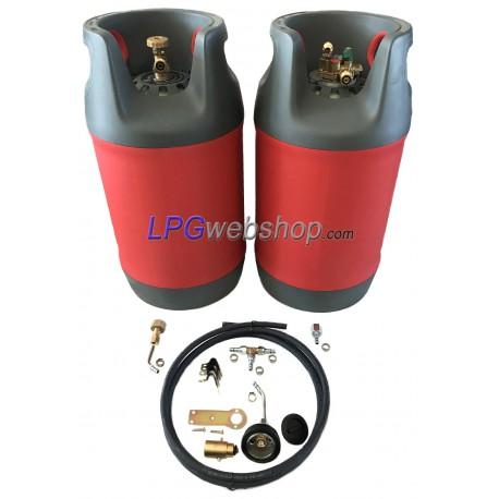 2x 24,5L LPG MV Gas bottle set + Filling set   Lightweight Plastic MultiValve 80% filling stop
