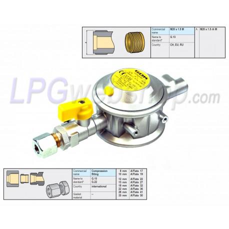 LPG Vapour Gas Pressure Reducer Regulator 30mbar - 5kg/h