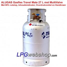 Refillable steel MV gas bottle 30L with 80% filling - Multivalve