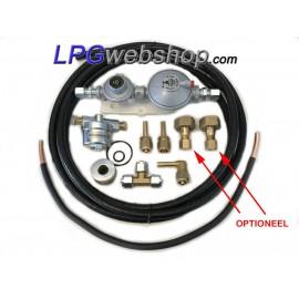 Drukregelaarset (30 mbar) met filter en verbindingen voor damptank of gasfles